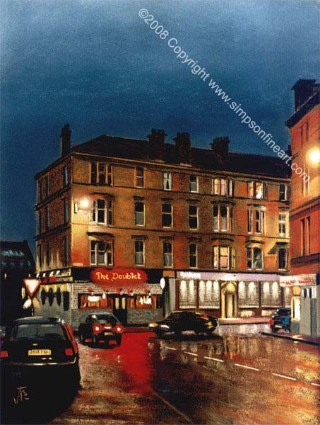 The Doublet, Park Road, Glasgow By Night