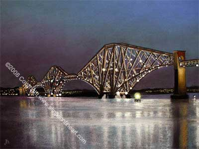 Forth Rail Bridge By Night