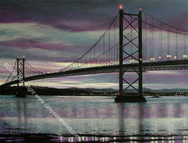 Forth Road Bridge By Night