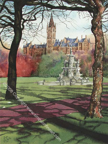 Glasgow University & Fountain From Kelvingrove Park