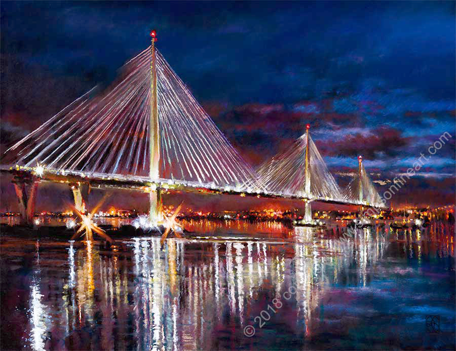 Queensferry Crossing By Night