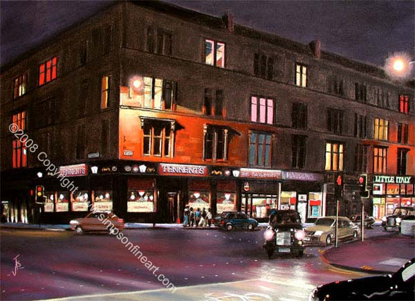 Tennent's Bar, Byres Road, Glasgow By Night